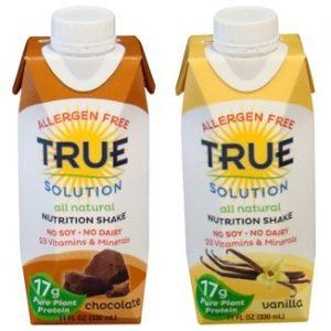 True Solution Allergen Free Nutrition Shakes - Chocolate and Vanilla
