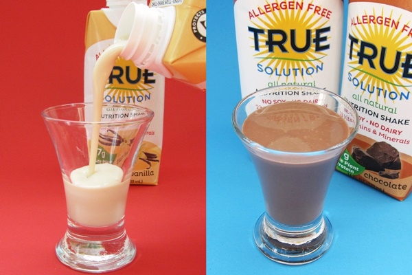True Solution Allergen Free Nutrition Shakes - Chocolate and Vanilla Protein
