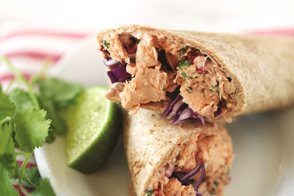 Chipotle Wild Alaskan Salmon Wrap Recipe - dairy-free, optionally gluten-free and healthy
