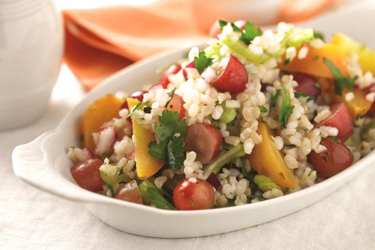 Brown Rice Summer Salad with Golden Beets, Grapes, and White Wine Vinaigrette (dairy-free, gluten-free, vegan, allergy-friendly)