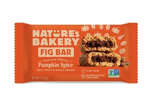 Nature's Bakery Fig Bars Reviews and Info - Dairy-free, nut-free, soy-free, vegan, and made from stone ground whole wheat - real ingredients. Pictured: Pumpkin Spice