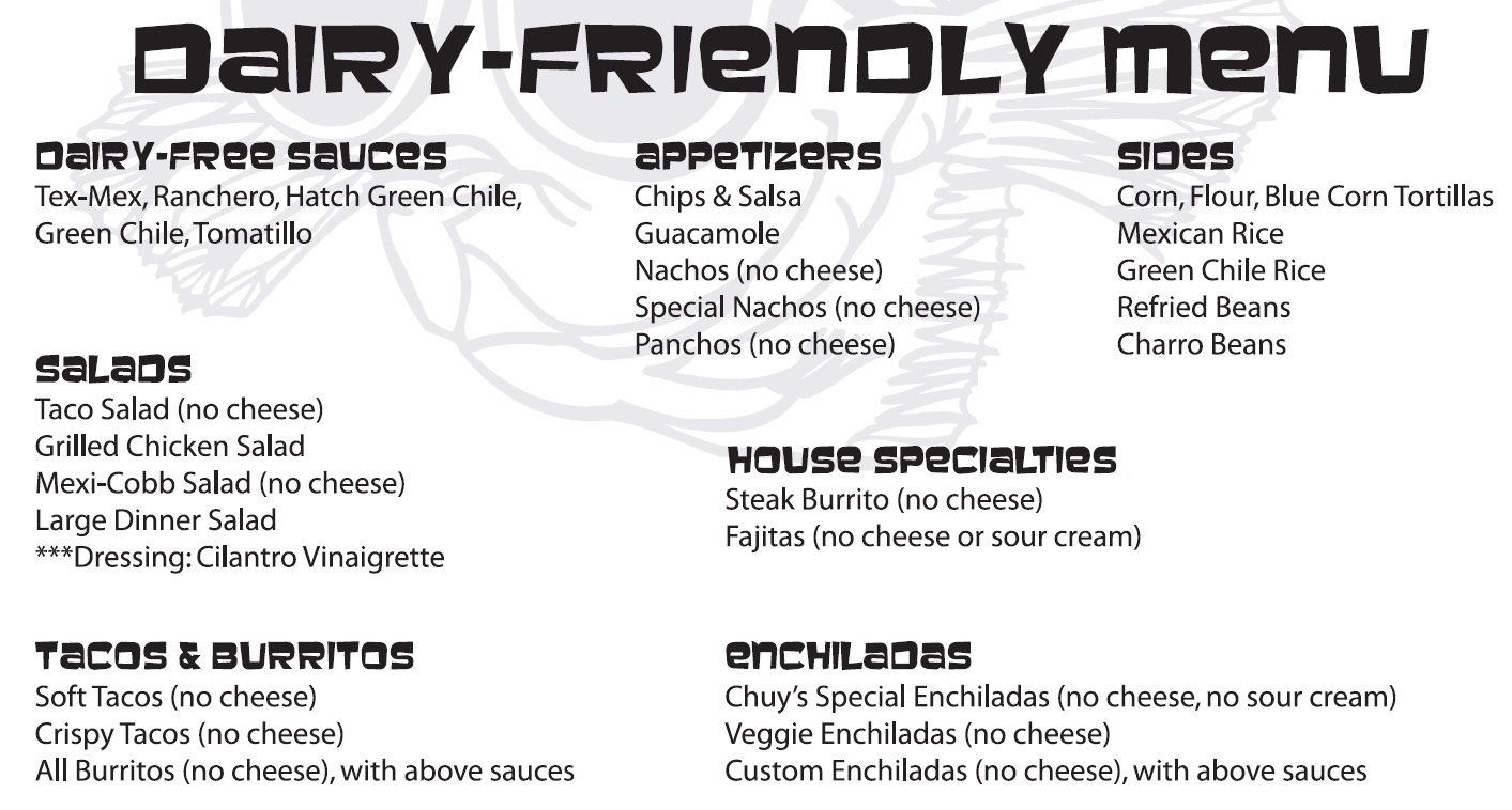 Chuy's Restaurant Chain - dairy-free / dairy-friendly menu