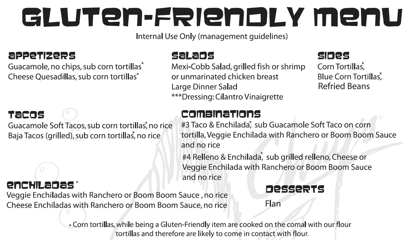 Chuy's Restaurant Chain - gluten-free / gluten-friendly menu