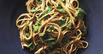 Vegan Gluten-Free Spicy Soba Noodles Recipe with Wilted Watercress