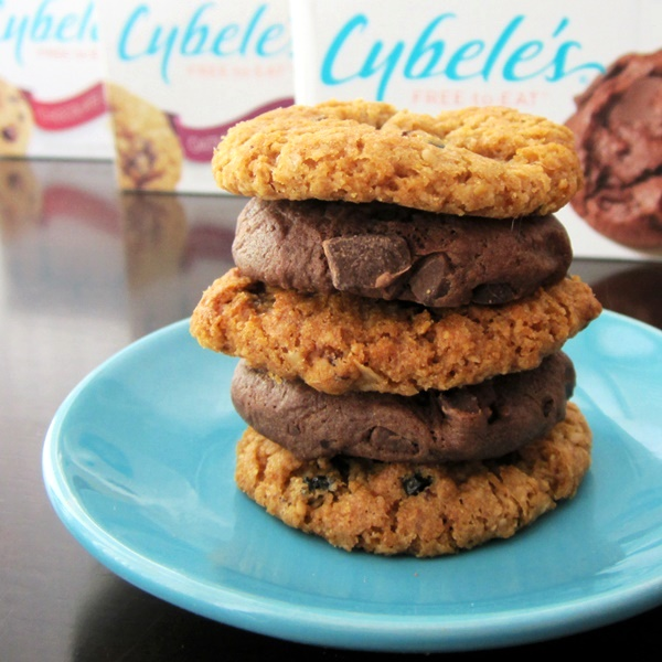 Cybele's Free to Eat Cookies (Oatmeal Raisin and Chocolate Chunk Brownie shown) - dairy-free, egg-free, gluten-free, nut-free, peanut-free, soy-free, and vegan!