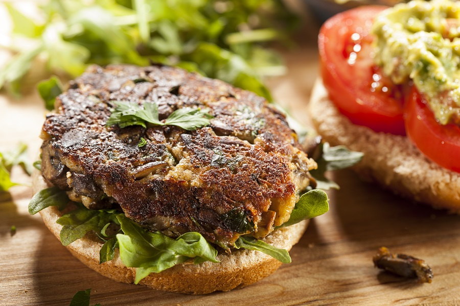 The Ultimate Guide to Vegan Burgers - dairy-free, egg-free veggie burgers (brands and recipes!) - mushroom burgers pictured