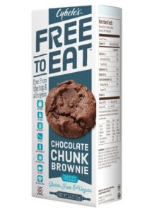 Cybele's Free to Eat Cookies Reviews and Info - Gluten-Free, Dairy-Free, Egg-Free, Nut-Free, Soy-Free Cookies that are Chewy and taste just like Homemade! Pictured: Chocolate Chunk Brownie