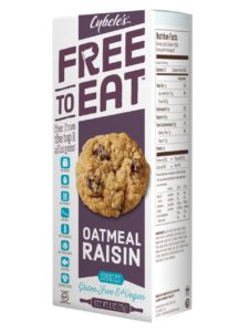 Cybele's Free to Eat Cookies Reviews and Info - Gluten-Free, Dairy-Free, Egg-Free, Nut-Free, Soy-Free Cookies that are Chewy and taste just like Homemade! Pictured: Oatmeal Raisin