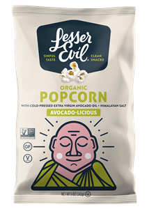 LesserEvil Organic Popcorn Reviews and Information. Dairy-free and Vegan varieties. Pictured: Avocado-licious