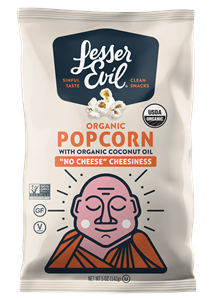 LesserEvil Organic Popcorn Reviews and Information. Dairy-free and Vegan varieties. Pictured: No Cheese Cheesiness