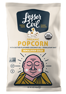 LesserEvil Organic Popcorn Reviews and Information. Dairy-free and Vegan varieties. Pictured: Himalayan Gold