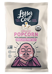 LesserEvil Organic Popcorn Reviews and Information. Dairy-free and Vegan varieties. Pictured: Himalayan Pink Salt