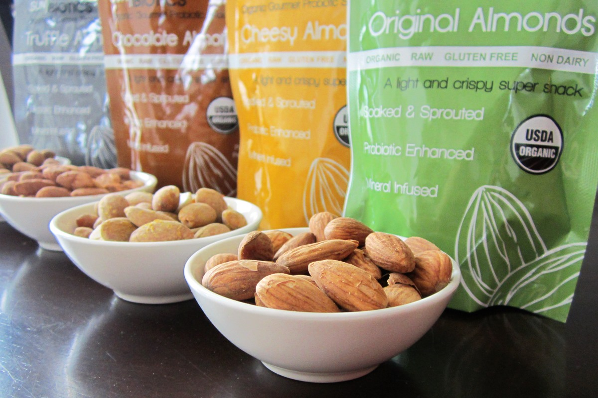 Sunbiotics Organic Probiotic Almonds Reviews and Info - 8 billion vegan probiotics per package! Raw, sprouted, dairy-free, gluten-free, and healthy.