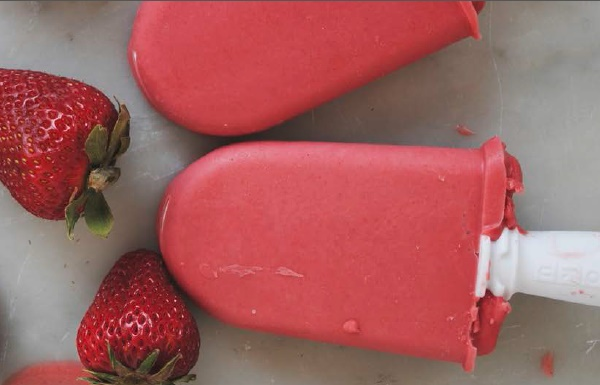 Strawberry Frozen Yogurt Pops - Recipe from Berrylicious, a collection of dairy-free, gluten-free, and vegan berry delights!
