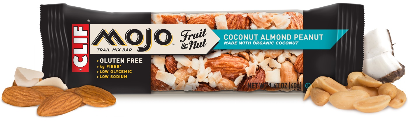 Clif Mojo Trail Mix Bars: Coconut Almond Peanut pictured (dairy-free, gluten-free)