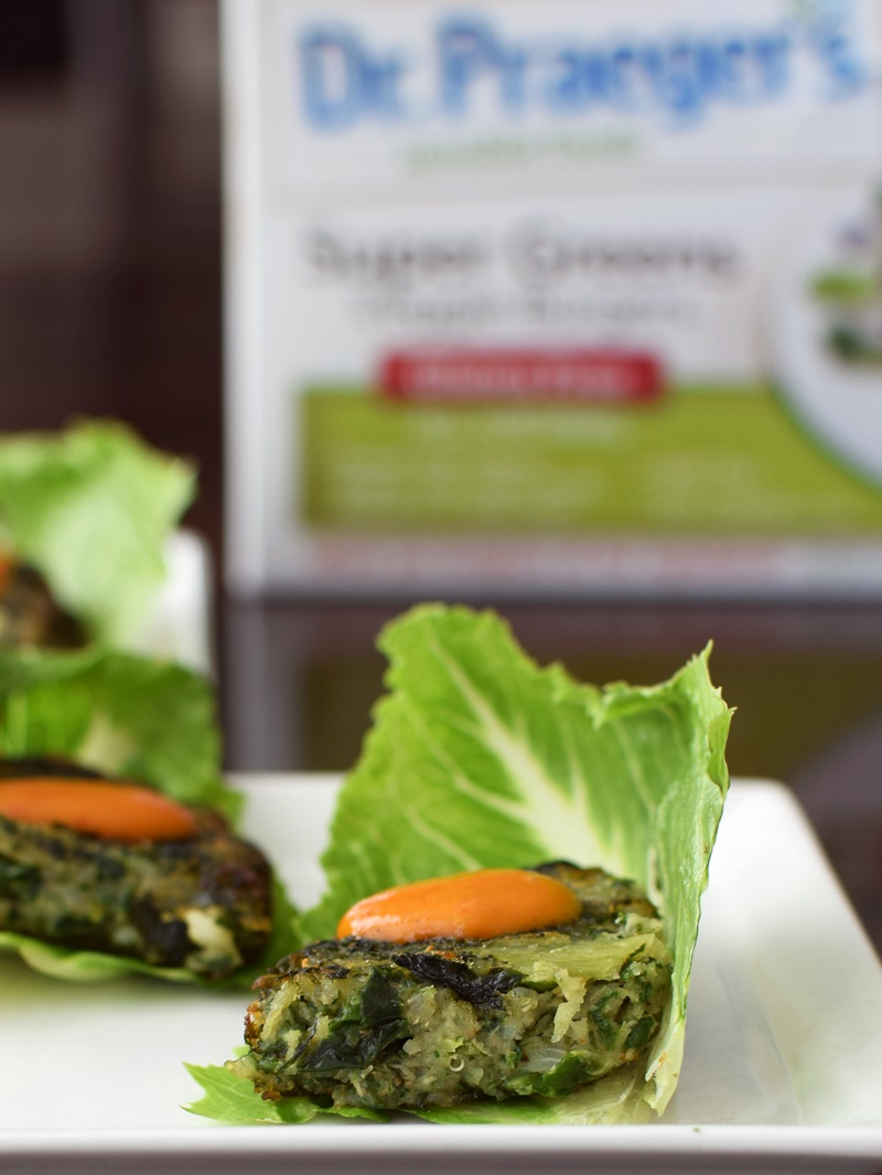 Dr. Praeger's Veggie Burgers - Super Greens cut into bites and served in lettuce with provencal mustard (vegan, gluten-free)