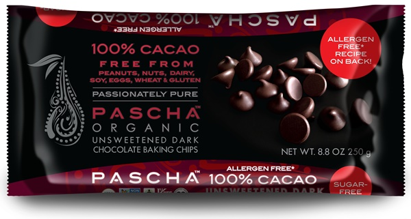 Pascha Organic Unsweetened Chocolate Chips - Dairy-Free, Vegan, Top Allergen-Free and Fair Trade Certified