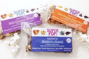 Super Pop! Superfood Bars - Made with organic puffed quinoa, nut butter, pea protein, and one with popcorn
