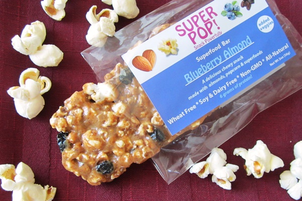 Super Pop! Superfood Snack Bars - Blueberry Almond, Made with non-GMO Popcorn