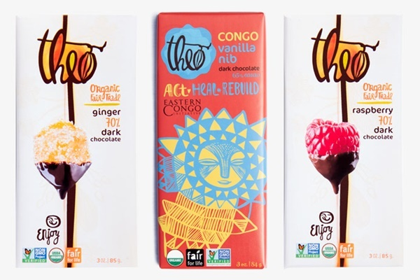 Theo Dark Chocolate Bars - Dairy-Free Varieties - Fair-Trade, Organic, Non-GMO