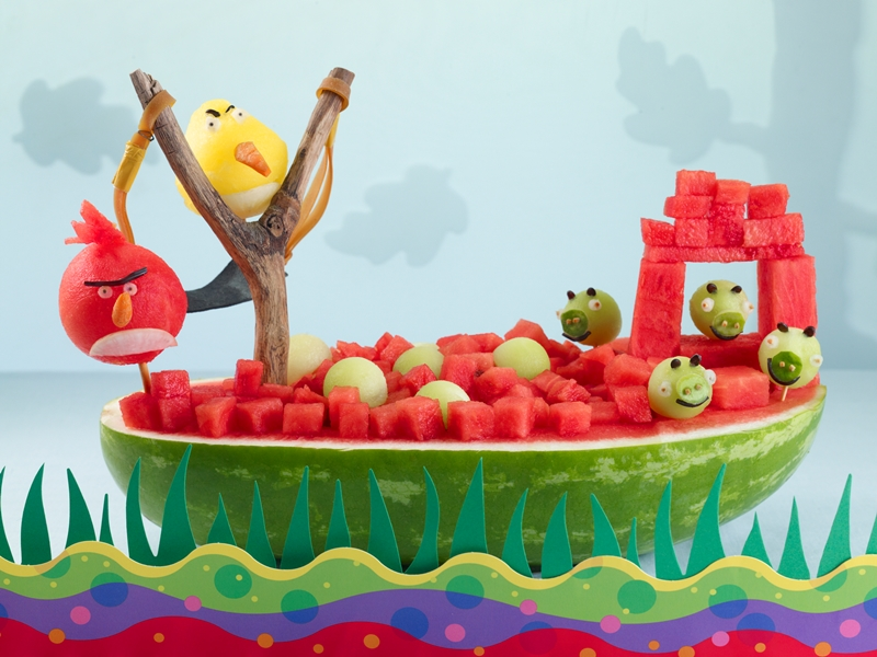 Dairy-Free Watermelon Recipes, Information and Carving Ideas (Angry Birds shown)