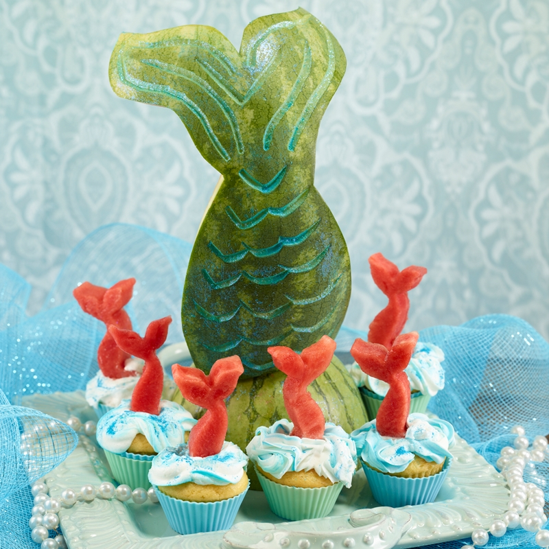Dairy-Free Watermelon Recipes, Information and Carving Ideas (Mermaid Cupcakes shown)