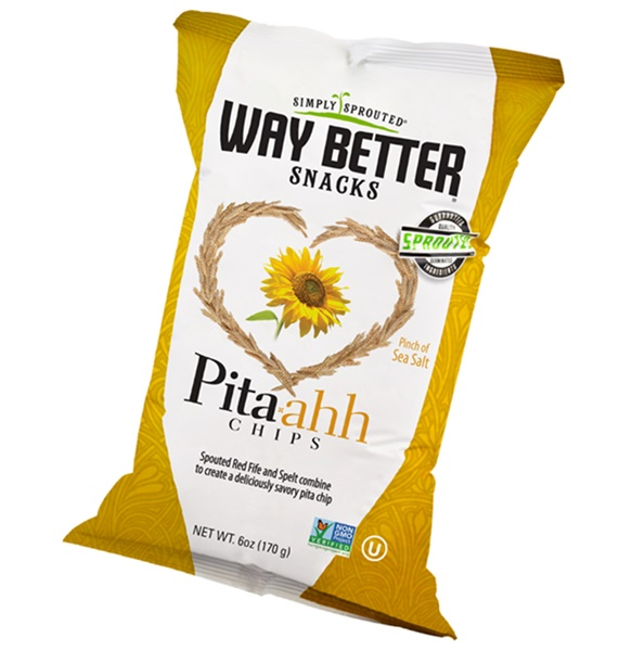 Way Better Snacks Pita-ahh Chips - Dairy-Free Pinch of Sea Salt with Sprouted Red Fife and Spelt