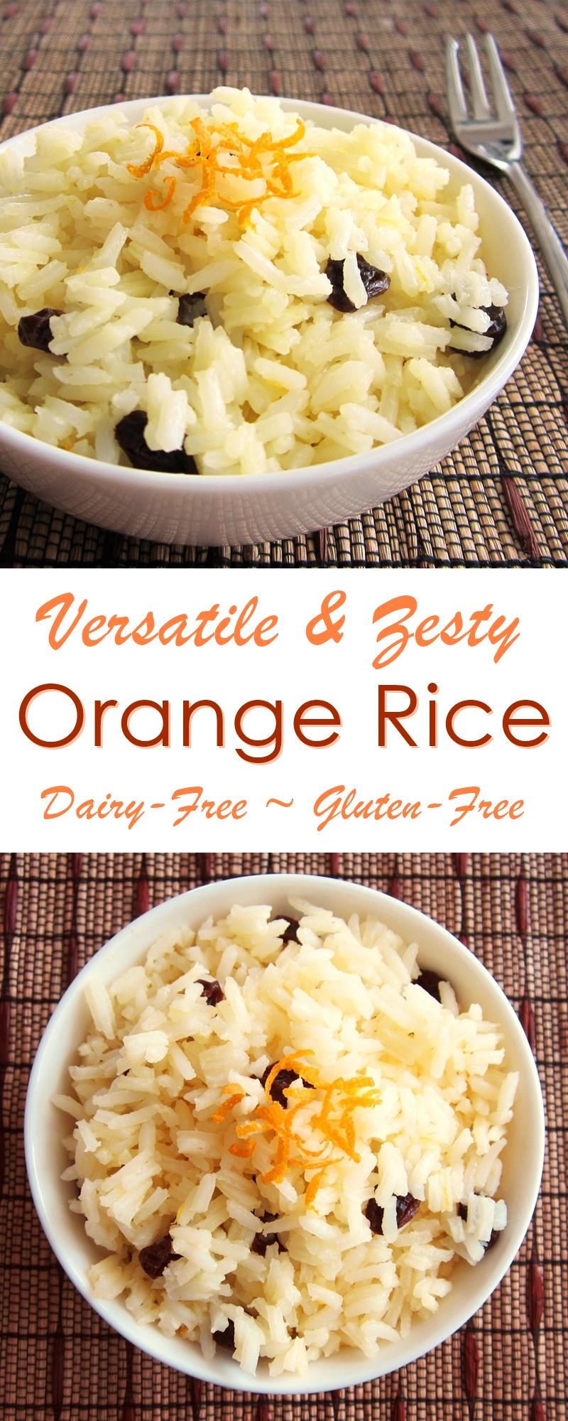 Zesty Orange Raisin Rice Recipe - versatile side dish or breakfast; naturally gluten-free and allergy-friendly