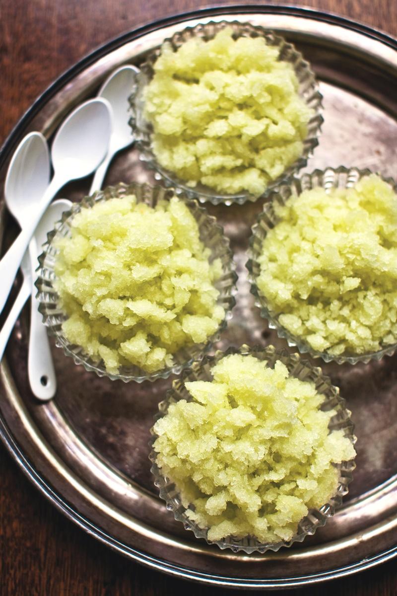 Honeydew Granita Recipe with Lemon Verbena and Lime