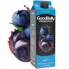GoodBelly Probiotic JuiceDrinks - 20 Billion CFUs per Cup - Dairy-Free, Soy-Free, Vegan. Pictured: Blueberry Acai
