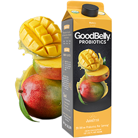 GoodBelly Probiotic JuiceDrinks - 20 Billion CFUs per Cup - Dairy-Free, Soy-Free, Vegan. Pictured: Mango