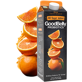 GoodBelly Probiotic JuiceDrinks - 20 Billion CFUs per Cup - Dairy-Free, Soy-Free, Vegan. Pictured: No Sugar Added Tropical Orange