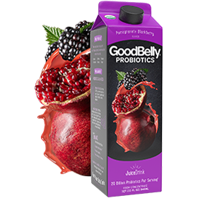 GoodBelly Probiotic JuiceDrinks - 20 Billion CFUs per Cup - Dairy-Free, Soy-Free, Vegan. Pictured: Pomegranate Blackberry