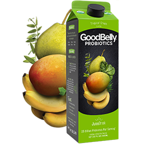 GoodBelly Probiotic JuiceDrinks - 20 Billion CFUs per Cup - Dairy-Free, Soy-Free, Vegan. Pictured: Tropical Green