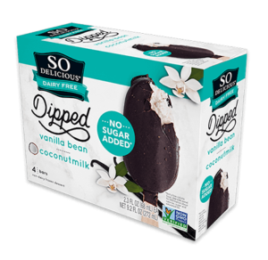 So Delicious Coconut Milk Ice Cream Bars Reviews and Info. Dairy-Free, Gluten-Free, Vegan. Pictured: No Sugar Added Vanilla Bean Dipped Bars