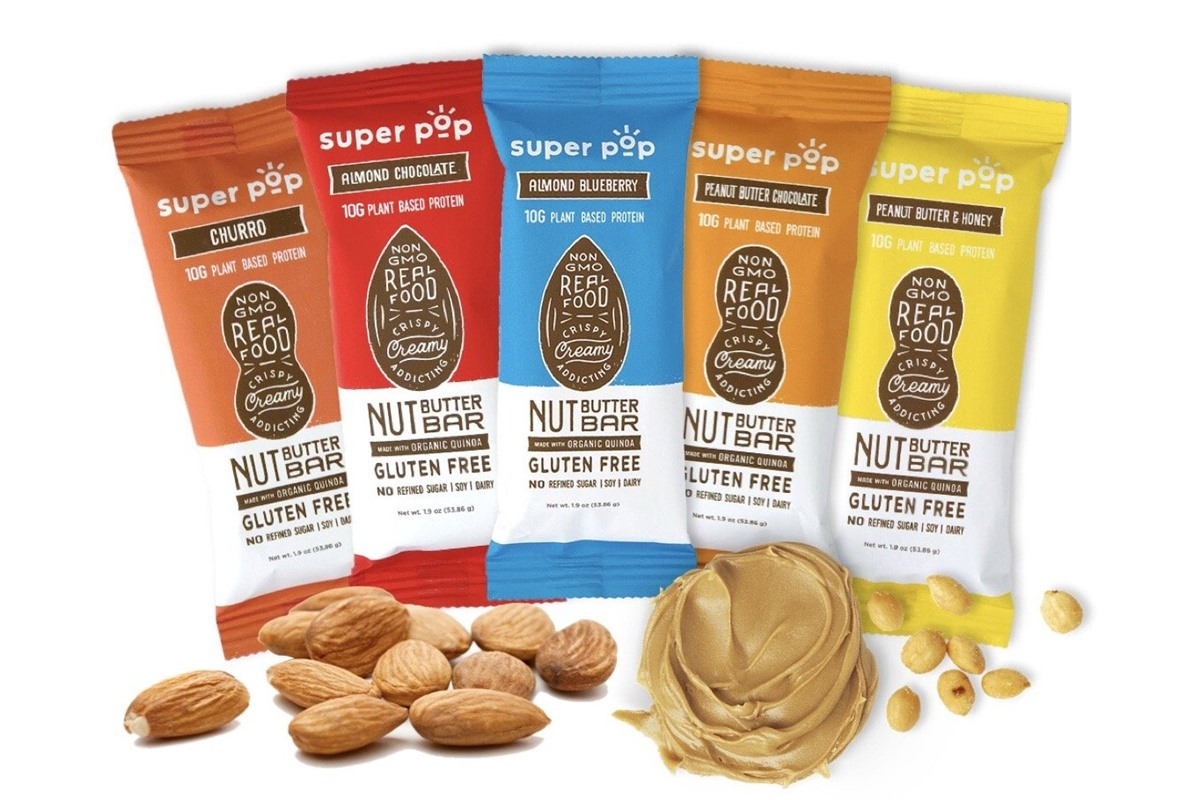 Super Pop Nut Butter Bars Reviews and Info - Dairy-free, gluten-free, soy-free, plant-based, made with creamy nut butters and crispy quinoa.