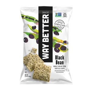 Way Better Tortilla Chips are Sprouted Whole Grain Snacks - Reviews and Info for Dairy-Free and Vegan Varieties. Pictured: Black Bean