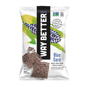 Way Better Tortilla Chips are Sprouted Whole Grain Snacks - Reviews and Info for Dairy-Free and Vegan Varieties. Pictured: Blue Corn