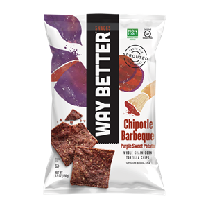 Way Better Tortilla Chips are Sprouted Whole Grain Snacks - Reviews and Info for Dairy-Free and Vegan Varieties. Pictured: Chipotle Barbeque Purple Sweet Potato