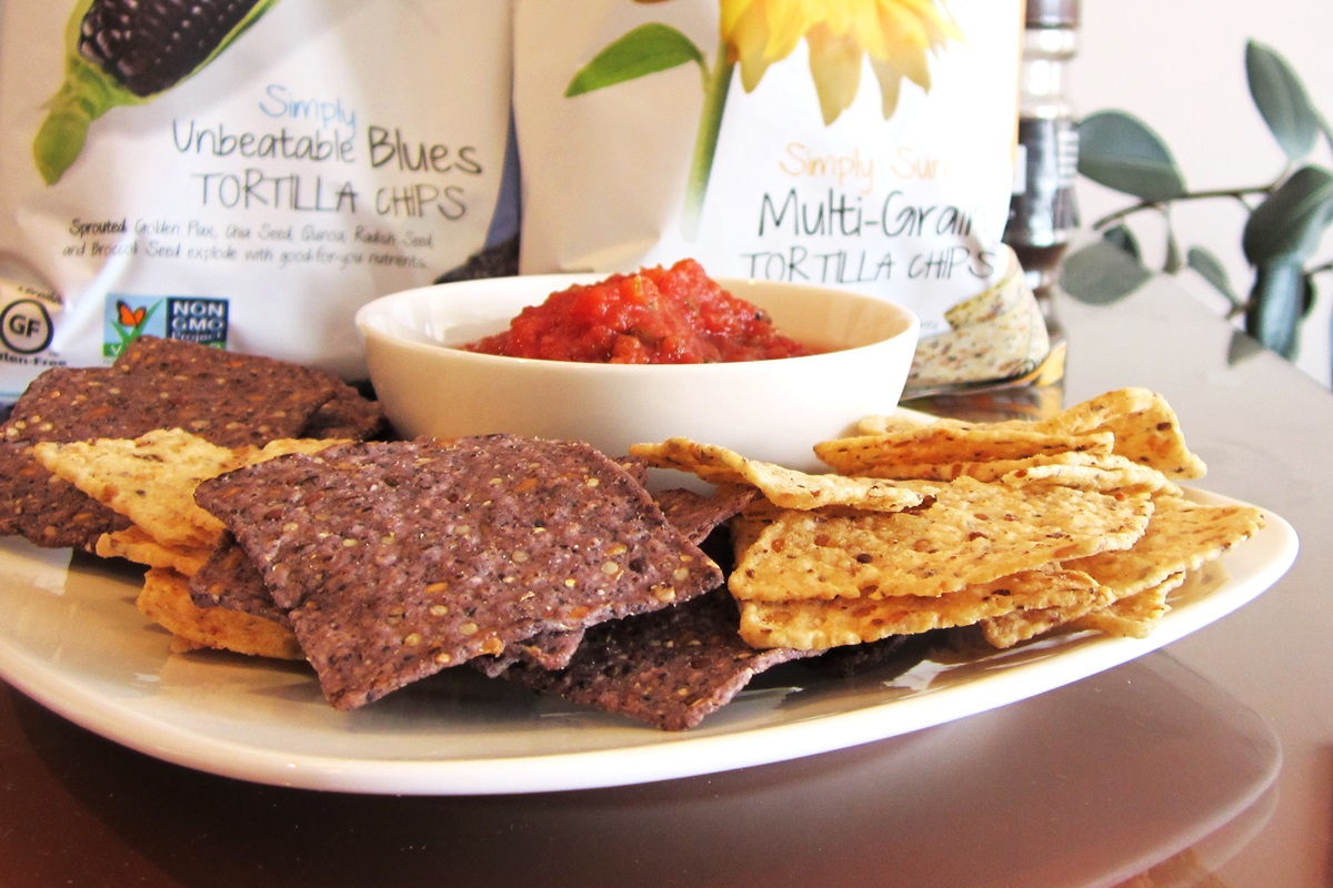 Way Better Tortilla Chips are Sprouted Whole Grain Snacks - Reviews and Info for Dairy-Free and Vegan Varieties. Pictured: Plated