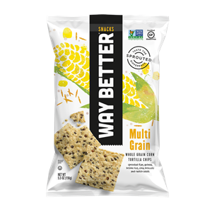 Way Better Tortilla Chips are Sprouted Whole Grain Snacks - Reviews and Info for Dairy-Free and Vegan Varieties. Pictured: Multi-Grain