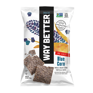 Way Better Tortilla Chips are Sprouted Whole Grain Snacks - Reviews and Info for Dairy-Free and Vegan Varieties. Pictured: No Salt Blue Corn