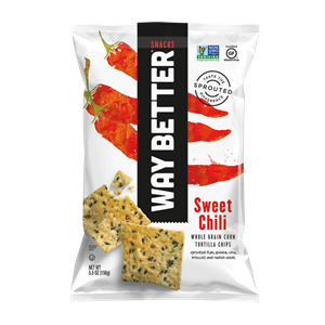 Way Better Tortilla Chips are Sprouted Whole Grain Snacks - Reviews and Info for Dairy-Free and Vegan Varieties. Pictured: Sweet Chili