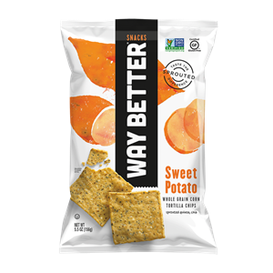 Way Better Tortilla Chips are Sprouted Whole Grain Snacks - Reviews and Info for Dairy-Free and Vegan Varieties. Pictured: Sweet Potato