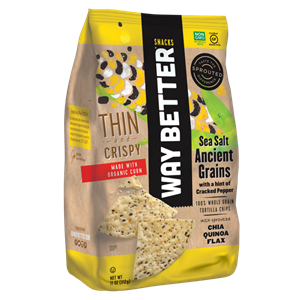 Way Better Tortilla Chips are Sprouted Whole Grain Snacks - Reviews and Info for Dairy-Free and Vegan Varieties. Pictured: Ancient Grains