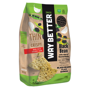 Way Better Tortilla Chips are Sprouted Whole Grain Snacks - Reviews and Info for Dairy-Free and Vegan Varieties. Pictured: thin crispy black bean