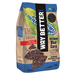 Way Better Tortilla Chips are Sprouted Whole Grain Snacks - Reviews and Info for Dairy-Free and Vegan Varieties. Pictured: thin crispy blue corn