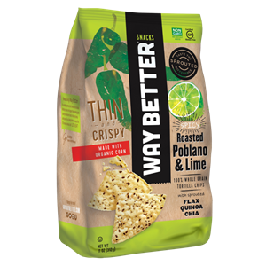 Way Better Tortilla Chips are Sprouted Whole Grain Snacks - Reviews and Info for Dairy-Free and Vegan Varieties. Pictured: poblano lime