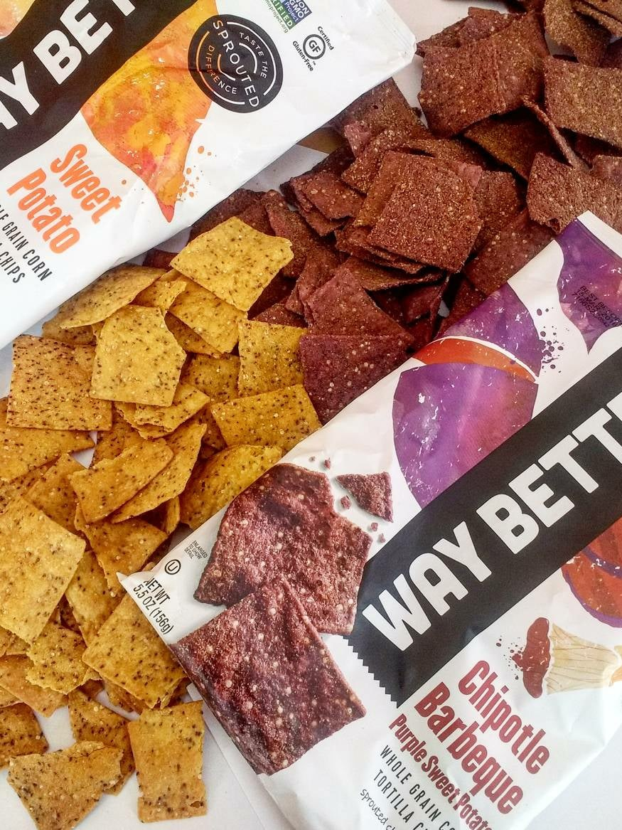 Way Better Tortilla Chips are Sprouted Whole Grain Snacks - Reviews and Info for Dairy-Free and Vegan Varieties. Pictured: various