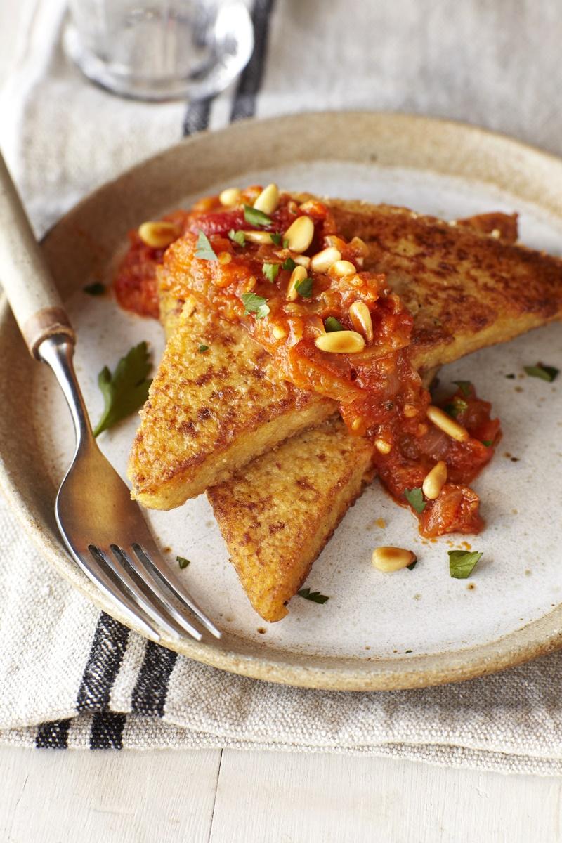 Seared Polenta with Spicy Heirloom Tomato Sauce - vegan recipe by Earthbound Farms founder, Myra Goodman